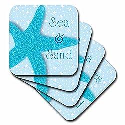 3dRose cst_60891_1 Aqua Sea and Sand Starfish-Beach Themed Ocean Art-Soft Coasters, Set of 4