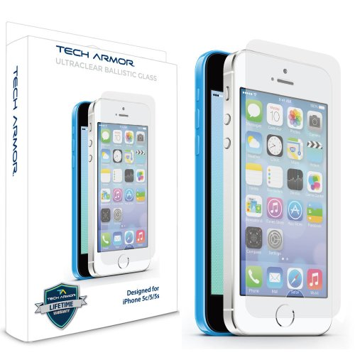Tech Armor Apple iPhone 5/5c/5s Premium Ballistic Glass Screen Protector – Protect Your Screen from Scratches and Drops
