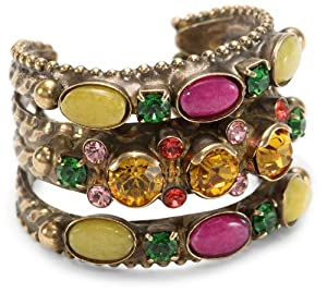 "Sorrelli ""Hibiscus"" Oval Fuchsia Jade and Yellow Jade On a Braided Double Adjustable Ring"