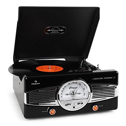 Auna MG-TT-82B Giradischi Anni 50 Design Con Altoparlanti Casse Integrate (Tuner Radio AM/FM, 33 e 45 RPM, Design Vintage Retró) Nero