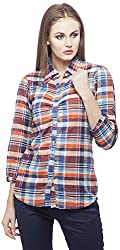 Peptrends Women's Regular Fit Shirt (SHI15182MC_L, Multicoloured, L)