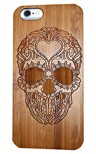 iPhone 6 / 6S SKULL Natural Wooden Handmade Hard Case Light Weight Bamboo Wood Gift By IPG �