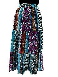 COTTON BREEZE Women's Cotton Regular Fit Skirt (White, Free Size)