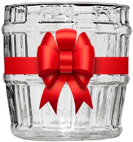 Whiskey Barrel Glass – Bonus Whiskey Recipes – Hand Blown – Novelty Cup for Scotch and Vodka – Secret Santa – Stocking Stuffer