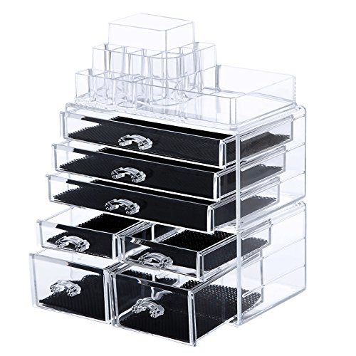 SONGMICS Cosmetic/makeup Organizer Jewelry Chest Bathroom Storage Case 3 Pieces UJMU07T (Tabletop Cosmetic Organizer compare prices)