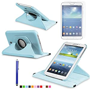 360 Degree Rotating Cover Case for Samsung Galaxy Tab 3 7.0 SM-T210 / SM-T217 With Screen Protector and Stylus Galaxy tab 3 7 case From Sheath TM [ Does not Fit Galaxy Tab 3 Lite SM-T110 ] (Sky Blue)