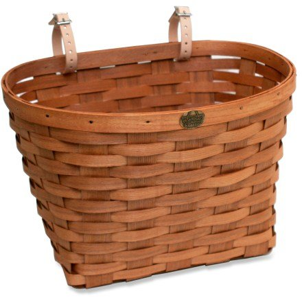 Peterboro Original Bike Basket made from White Ash wood - made in USA - Large - Honey , genuine leather starps , brass medallion