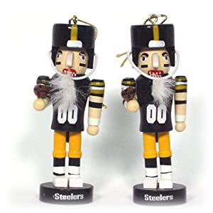Pittsburgh Steelers Mini Wooden Nutcracker  Two-Piece Ornament Set