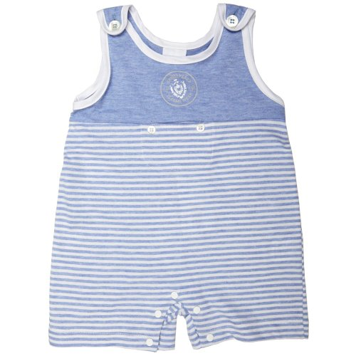 La Perla Grigioperla Baby Blue And White Striped Cotton Sleeveless Romper Suit