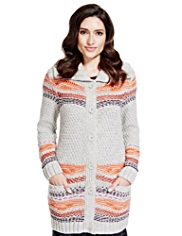 Per Una Nordic Chunky Knit Longline Cardigan with Wool