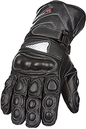Leather Motorbike Gloves Waterproof Winter Thermal Carbon Shell protection (S)