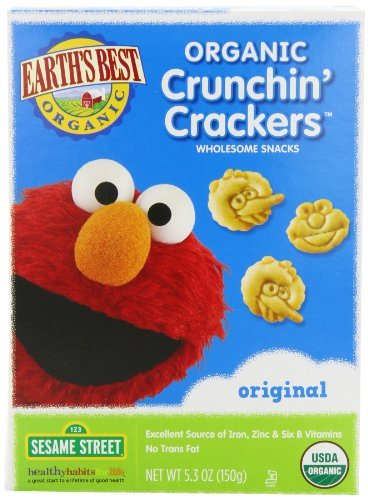 Baby/Infant/Child/Kid Earth's Best Organic Sesame Street Crunchin' Crackers, Original, 5.3-Ounce Boxes (Pack of 6) Newborn Gear
