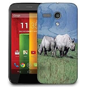 Snoogg Pair Of Rhino Designer Protective Phone Back Case Cover For Motorola G / Moto G