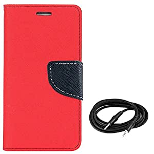 Avzax Flip Case Cover For Nokia Lumia 535 (Red) + Aux Cable