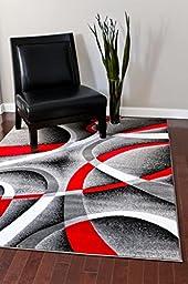 2305 Gray Black Red White Swirlss 3\'11 x 5\'4 Modern Abstract Area Rug Carpet
