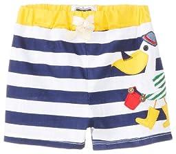 Mud Pie Baby-Boys Newborn Pelican Swim Trunks, Blue/White, 0-6 Months
