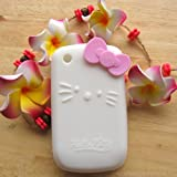 Hello Kitty white Silicone with bow Cover Case for Blackberry Curve 8520 8530 9300