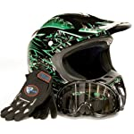 Adult Motocross Helmet Gloves & Goggles ATV Dirt Bike Motorcycle Green, Medium