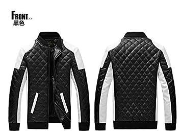 Junsi Men's Black/White PU Leather Coat Manteau Stand Collar Biker Motorcycle Plaid Jacket Color Black Size M
