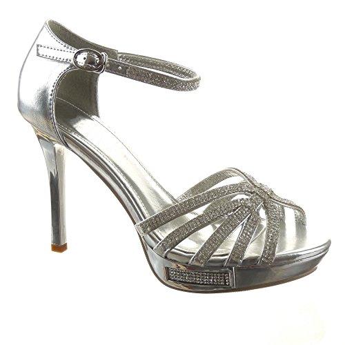 Sopily - Scarpe da Moda scarpe decollete Stiletto Zeppe alla caviglia donna strass fibbia multi-briglia Tacco Stiletto tacco alto 11 CM - Argento CAT2-SH1603 T 39