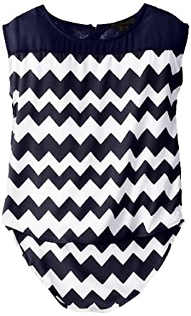 My Michelle Big Girls' Short Sleeve Solid To Print Chiffon Top, Navy, X-Large
