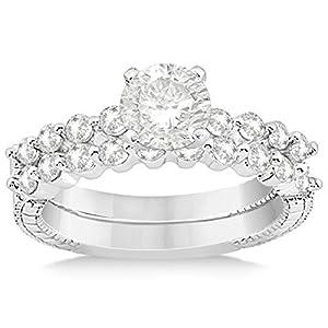 Allurez Women's Vintage, Filigree Diamond Engagement Ring and Wedding Band Bridal Set in Platinum 0.54ct 13.75