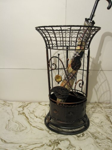 Round Metal Wrought Iron Umbrella Holder Stand
