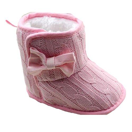 Longra-Baby-Bowknot-weiche-Sohle-Winter-warme-Schuhe-Stiefel-11-Rosa