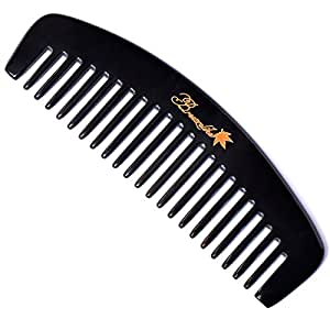 Breezelike No Static Wide Tooth Black Buffalo Horn Comb