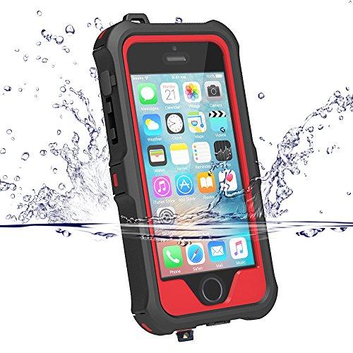 iPhone5s ケース iphone SE ケース ZVE® 防水ケース アイフォン5sケース 多機能スマホケース 防塵 耐衝撃カバー 指紋認識可 液晶保護フィルム付き 新型(iphoneSE/5S/5 レッド)