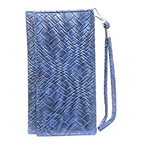 Jo Jo A5 Bali Leather Wallet Universal Pouch Cover Case For LG Optimus Z Dark Blue