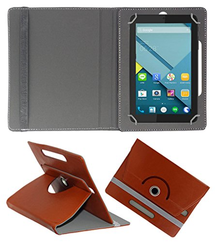 Acm Rotating 360° Leather Flip Case For Micromax Canvas Tab P290 Tablet Cover Stand Brown  available at amazon for Rs.149
