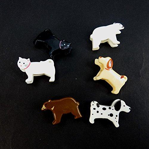 かわいい犬と猫とクマのアソート クリップ6個セット HB-451【デザインクリップ,CLIP,ミニクリップ】
