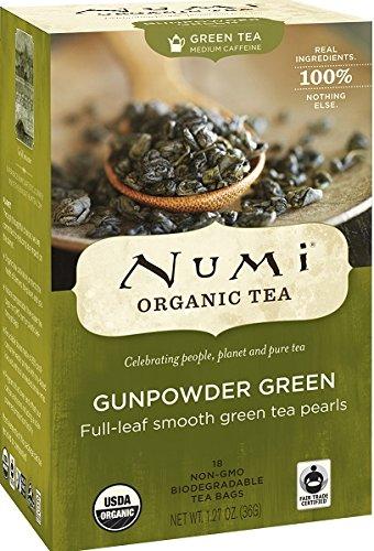 Numi Organic Tea Gunpowder Green, Full Leaf Green Tea, 18 Count non-GMO Tea Bags (Pack of 3) (Tea Packaging Bags compare prices)