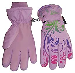 N\'Ice Caps Little And Big Girls Ombre Shaded Scroll Print Ski Gloves (10-12yrs, pink/lavender/neon green/neon purple/neon pink)