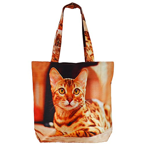 Digital stampato multiuso Moda Shopping Bag - Colorful Cat seta del faux Tote Bag con Polysatin Fodera
