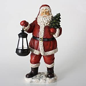 """17"""" LED Lighted Antiqued Santa Claus with Lantern Christmas Table Top Figure"""