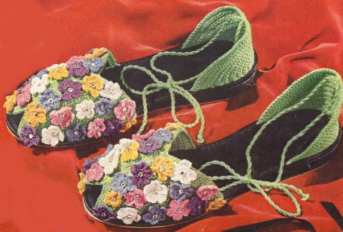 Vintage Crochet PATTERN to make - Crocheted Flower Slippers Sandals Soft Shoes Uppers. NOT a finished item. This is a pattern and/or instructions to make the item only.