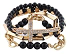 Ladies Black with Gold 4 Piece Bundle of Iced Out Cross