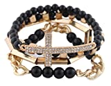 Ladies Black with Gold 4 Piece Bundle of Iced Out Cross, Link, & Bar Chain Beaded Stretch Bracelet