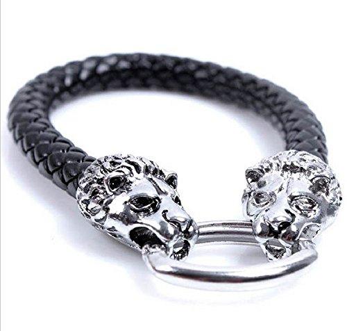 Mens bracelet hard silver alloy [G-premium] black braided leather (Lion)