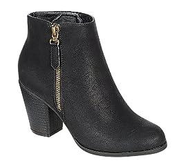 Reneeze BABA-02 Stacked Heel Zipper Ankle booties - BLACK-7