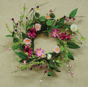 Aster Daisy Wreath, Floral Silk Flowers, 12-inch, Easter Spring Decor, Magenta Pink Ivory