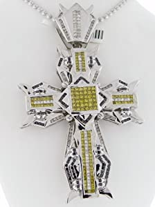14k White Gold / Designer Cross Charm Pendant / 5.50cttw Diamonds / 42.5 Grams / CT-563W