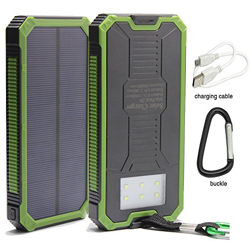 12000mAh Solar Charger, Portable Solar Powered Phone Charger Dual USB Solar External Battery Pack Power Bank for Cellphones With Solar LED Lights For Emergency or As A Camping Light (Green)