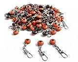 50 Perlen Wirbel Karabiner Angeln Posen Karpfen Blei Angelzubehör Angelausrüstung