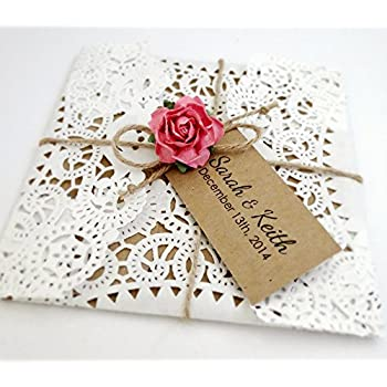 Set of 25 Invitations with RSVP cards, Wedding, Lace Invitation, Doily, Wedding, Recycled, Paper Rose, White, Pink, Retro, Burlap, Invitation Set, Country, Rustic, ECO