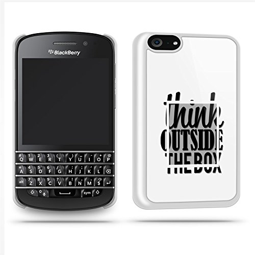 Think Outside The Box Quote Funny Cool Phone Case Shell For Blackberry Q10 - White