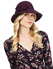M&S Collection Pure Wool Floral Corsage Cloche Hat