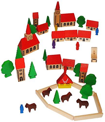 42-tlg-Set-buntes-Dorf-mit-Huser-Kirche-Bume-Figuren-und-Bausteine-aus-Holz-Baukasten-Original-Erzgebirge-ideal-fr-Holzeisenbahn-Gebude-Zubehr-Stadt-Holzhuser-Eisenbahn